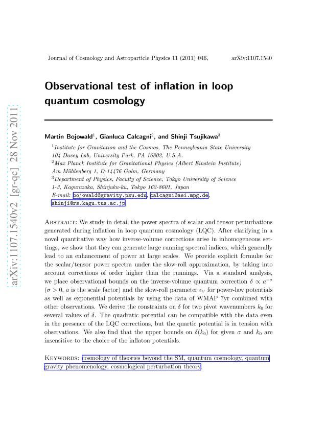 Martin Bojowald - Observational test of inflation in loop quantum cosmology