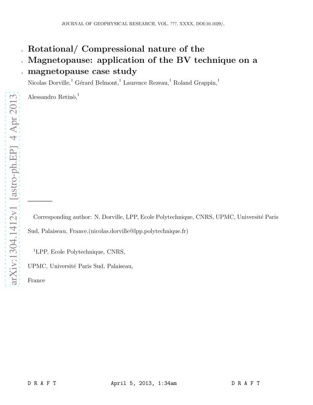 Nicolas Dorville - Rotational/ Compressional nature of the Magnetopause: application of the BV technique on a magnetopause case study