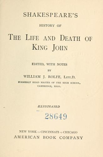 Download Shakespeare's History of the life and death of King John