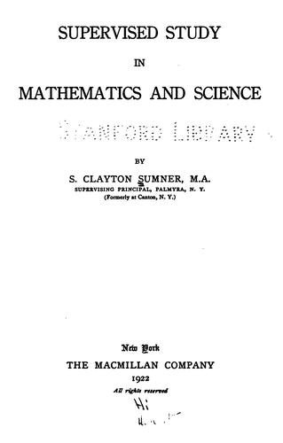 Download Supervised study in mathematics and science