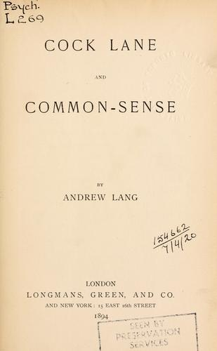 Download Cock Lane and common sense.
