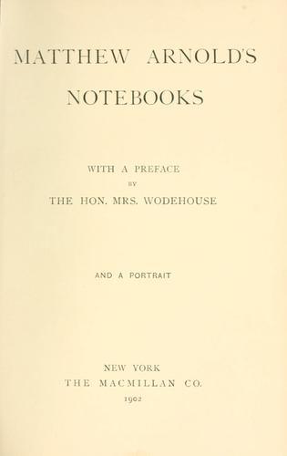 Matthew Arnold's notebooks