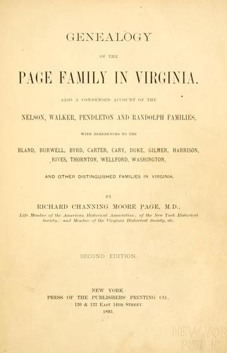 Download Genealogy of the Page family in Virginia.