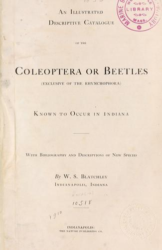 Download An illustrated descriptive catalogue of the Coleoptera or beetles (exclusive of the Rhynchophora) known to occur in Indiana.