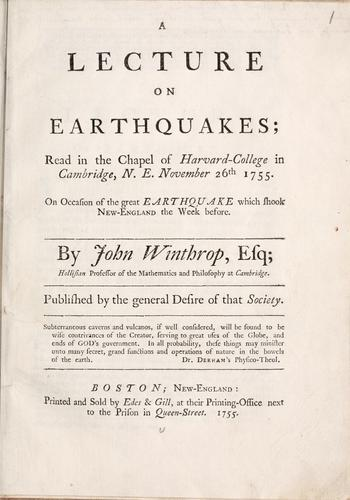A lecture on earthquakes by John Winthrop