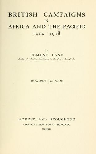 British campaigns in Africa and the Pacific, 1914-1918