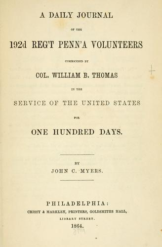 Download A daily journal of the 192d reg't Penn'a volunteers