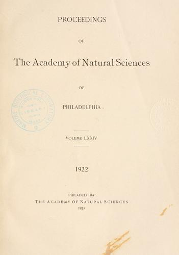 Download Proceedings of the Academy of Natural Sciences of Philadelphia, Volume 74