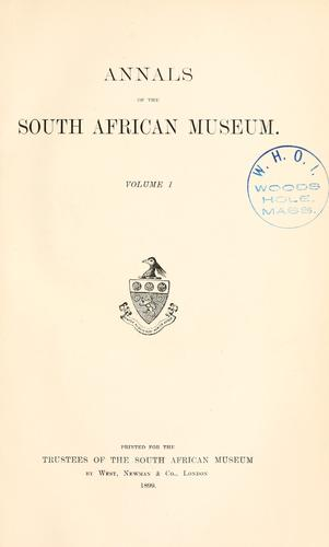 Download Annals of the South African Museum.