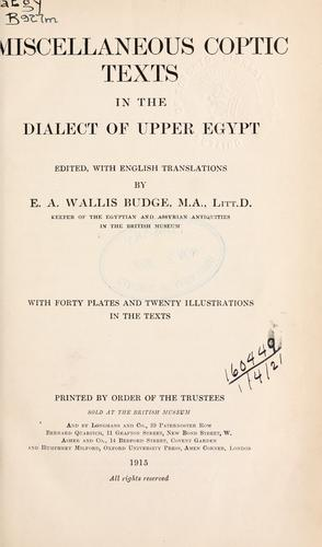 Download Miscellaneous Coptic texts in the dialect of Upper Egypt