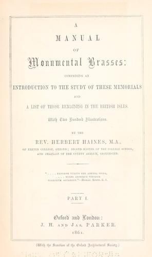 A manual of monumental brasses