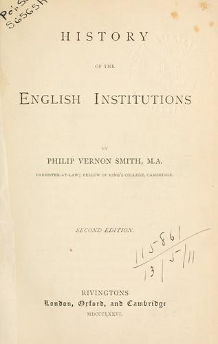 Download History of the English institutions.