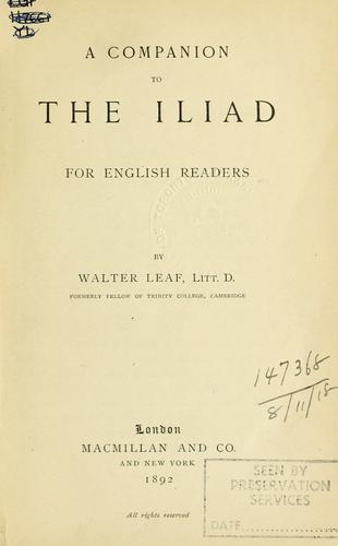 A companion to the Iliad, for English readers.