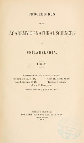 Proceedings of the Academy of Natural Sciences of Philadelphia, Volume 39