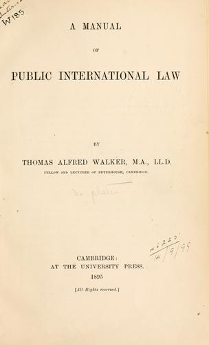 Manual of Public International law.