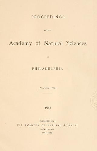 Download Proceedings of the Academy of Natural Sciences of Philadelphia, Volume 63