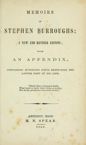 Memoirs of Stephen Burroughs