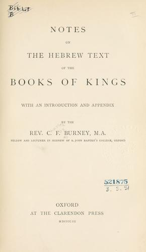 Download Notes on the Hebrew text of the Books of Kings.