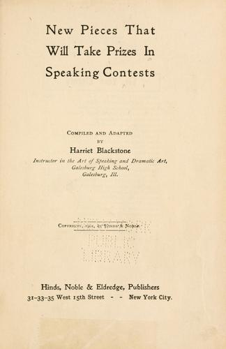 New pieces that will take prizes in speaking contests by Harriet Blackstone