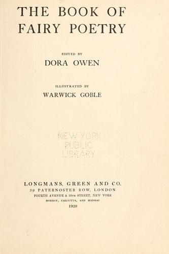 The book of fairy poetry by Dora Owen