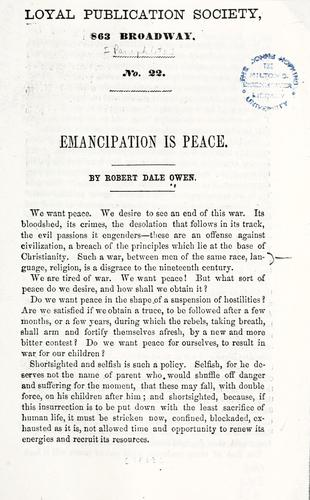 Emancipation is peace by Robert Dale Owen