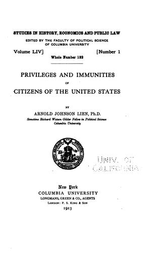 Privileges and immunities of citizens of the United States