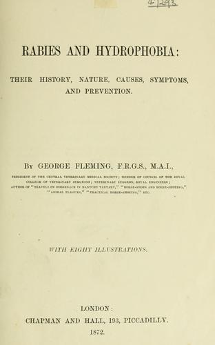 Rabies and hydrophobia by George Fleming