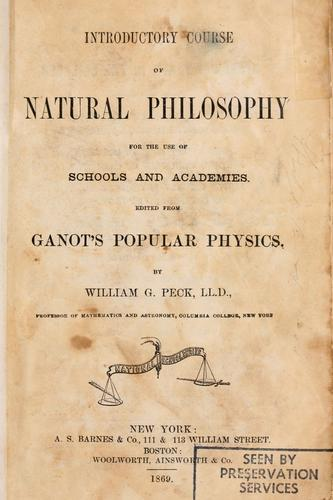 Introductory course of natural philosophy for the use of schools and academies by Adolphe Ganot