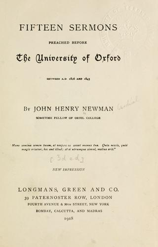 Fifteen sermons preached before the University of Oxford, between A.D. 1826 and 1843.