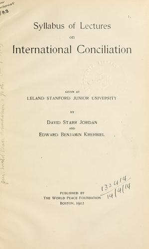 Syllabus of lectures on international conciliation
