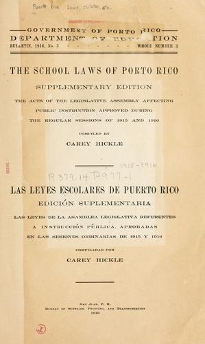The school laws of Porto Rico.