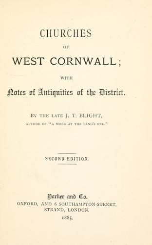 Churches of West Cornwall by John Thomas Blight